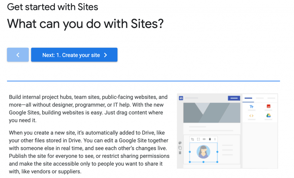 Get started with Google sites link
