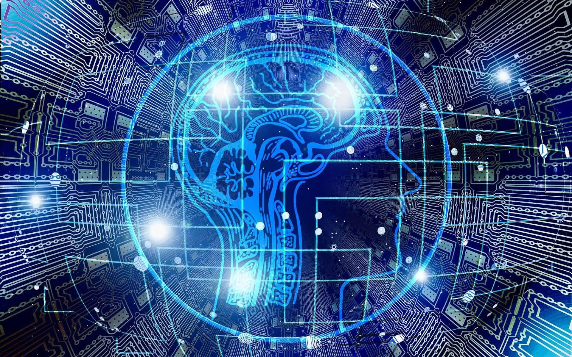blue technology around brain