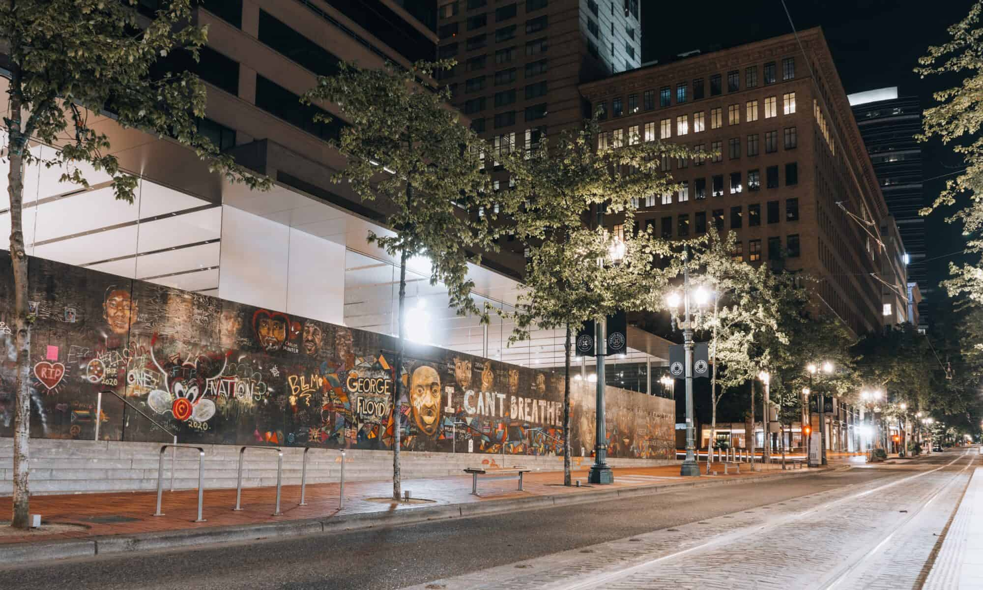 Side view of the Apple Store decorated by various BLM Activists to honor George Floyd, who was murdered by the police in late May of 2020